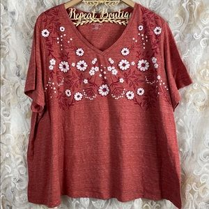 Catherine's Petite Red Floral short sleeve t shirt